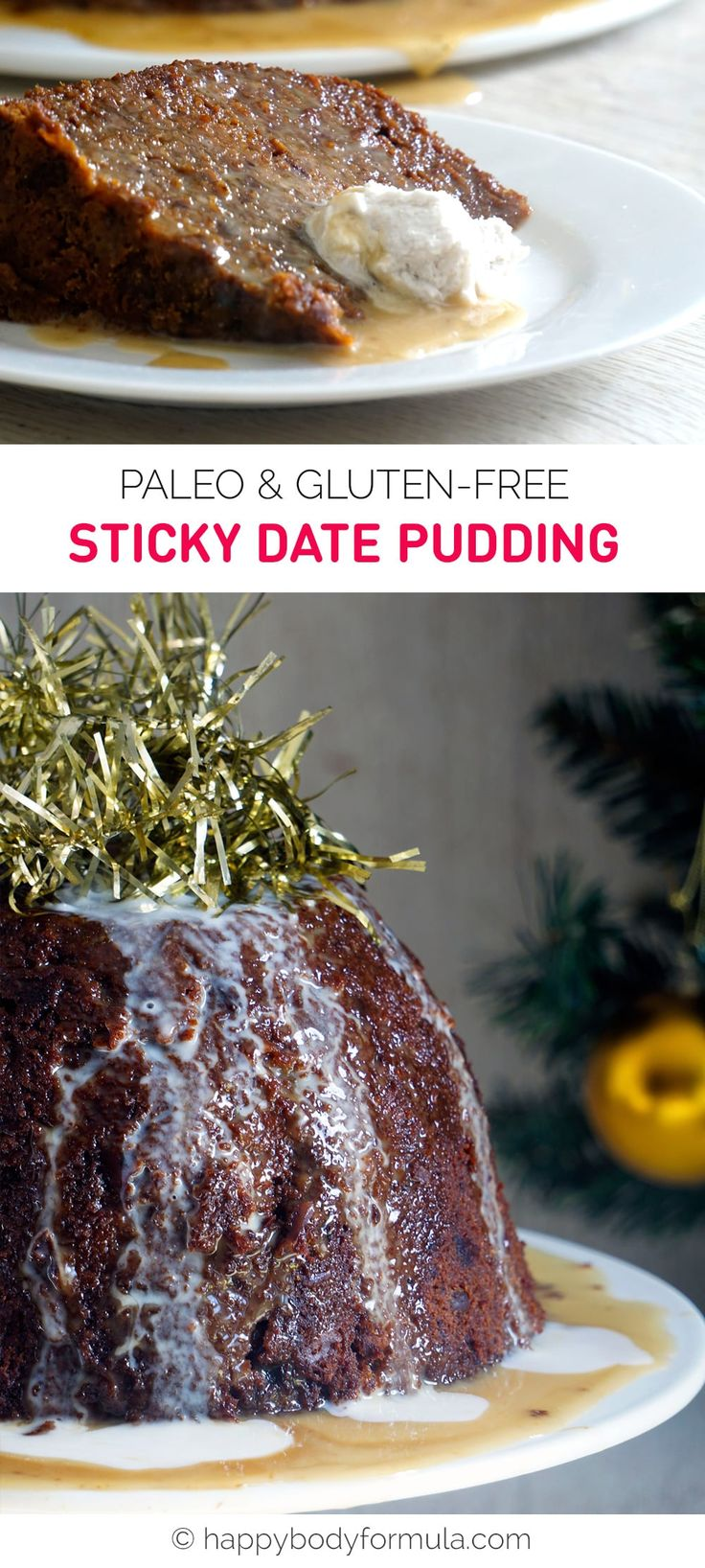 Paleo Sticky Date Pudding (grain-free, gluten-free, dairy-free). Recipe from Mummy Made It A Healthy Christmas eBook by Lisa McInerney.