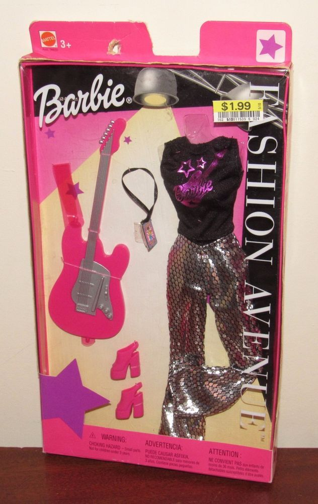 Barbie 2002 Fashion Avenue #56652 NRFB Rock Star Outfit Silver Pants, Guitar #MattelBarbie