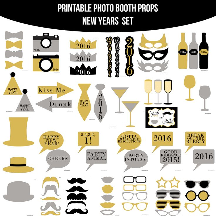 Instant Download 2016 New Years Printable Photo Booth Prop Set — Amanda Keyt DIY Photo Booth Props & More!