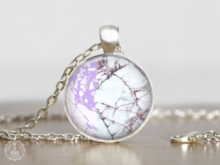 Purple Marble Pendant Necklace | Marble Necklace Marble Jewelry Boho Necklace White Marble Color Block Necklace Pastel Grunge Aesthetic by AgeOfAkuarius on Etsy