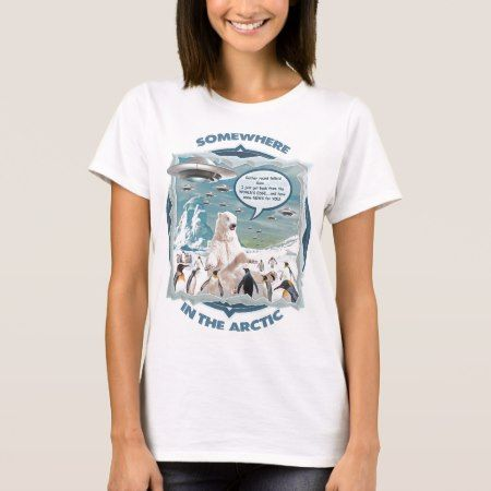 Somewhere in The Arctic - Polar Bear Penguins UFO T-Shirt - click to get yours right now!