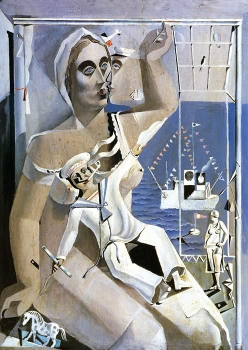 Venus and a Sailor by Salvador Dali, 1925. This is one of three paintings by Dali titled Venus and a Sailor all painted in 1925 and shown in Dali's first solo exhibition at the Dalmau Gallery in Barcelona