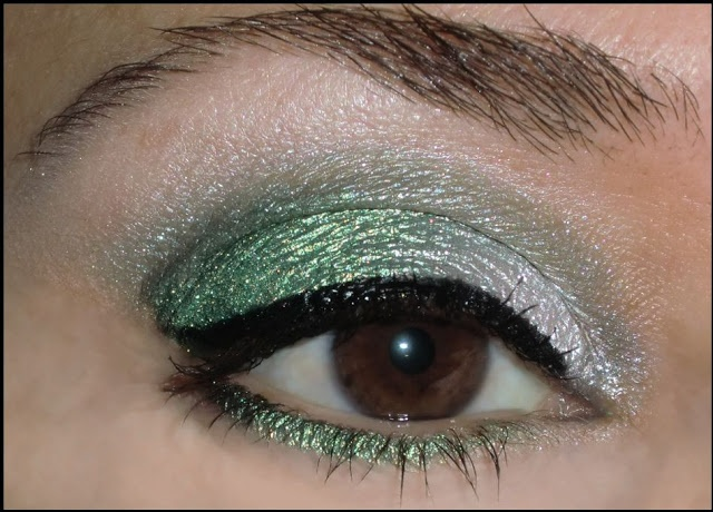 base: too faced glitter glue only for lid  lid: darling girl hana maru (inner), darling girl covet (outer)  crease: darling girl sea nymph  browbone: darling girl lily of the valley  eyeliner: aqualiner mufe in black  mascara: mufe smoky eyes