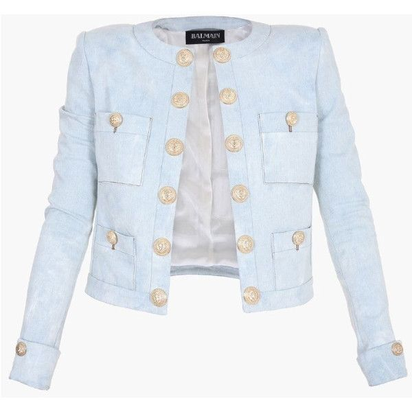Balmain Cropped Stretch Cotton Blazer ($1,400) ❤ liked on Polyvore featuring outerwear, jackets, blazers, blue, tailored blazer, slim jacket, slim fit blue blazer, slim blazer and slim fit jacket