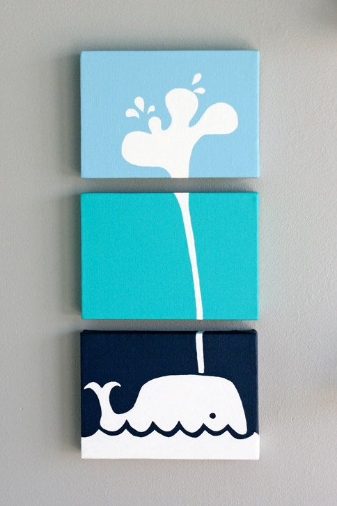 Whale Painting Series of 3 for a baby nursery kids por SennandSons