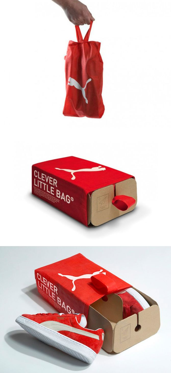 I really like this little clever shoe bag that is a box from Puma. This is such a cool stylish way to carry your shoes around, not to mention it's so much easy to hold this than a shoebox.  I can see this being very popular because it's great packaging.