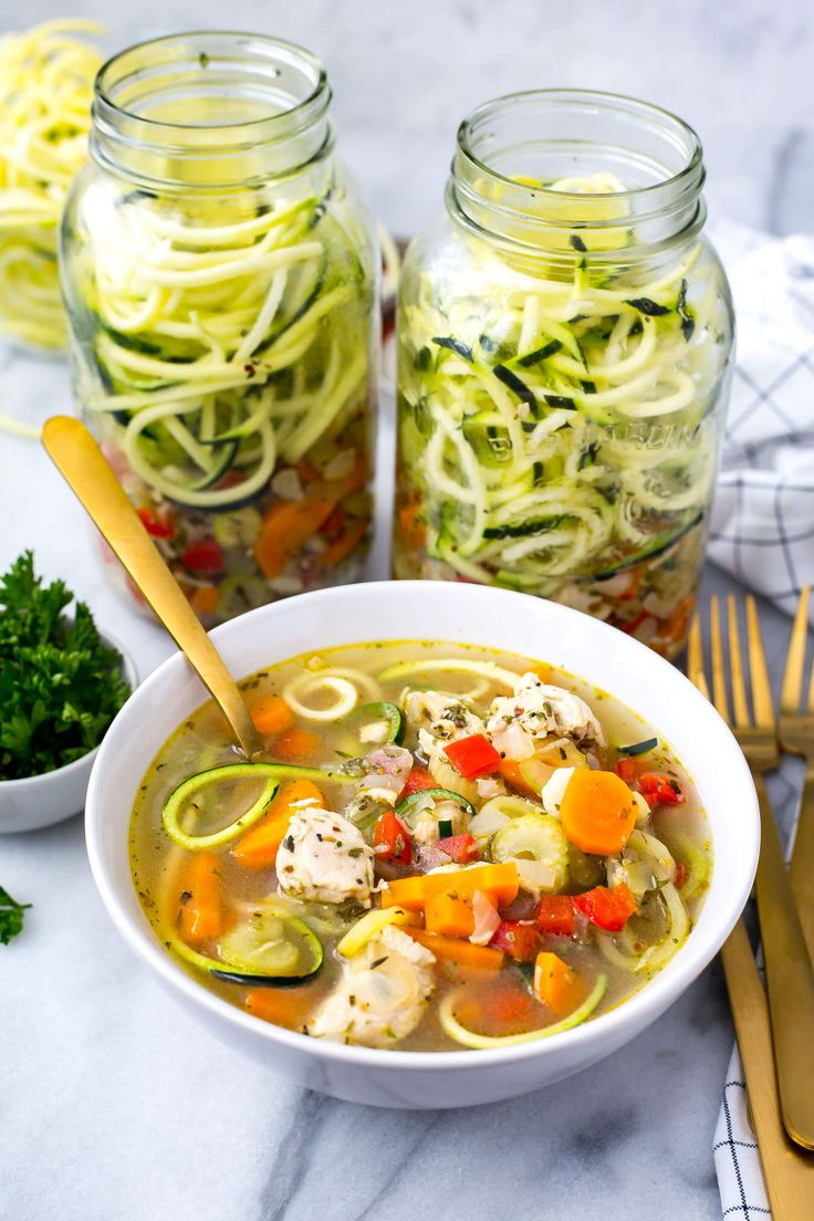 These Spiralized Zucchini Chicken Noodle Soup Jars are a perfect low-carb meal prep idea you can take for lunch on-the-go. Just add boiling water, microwave and enjoy!