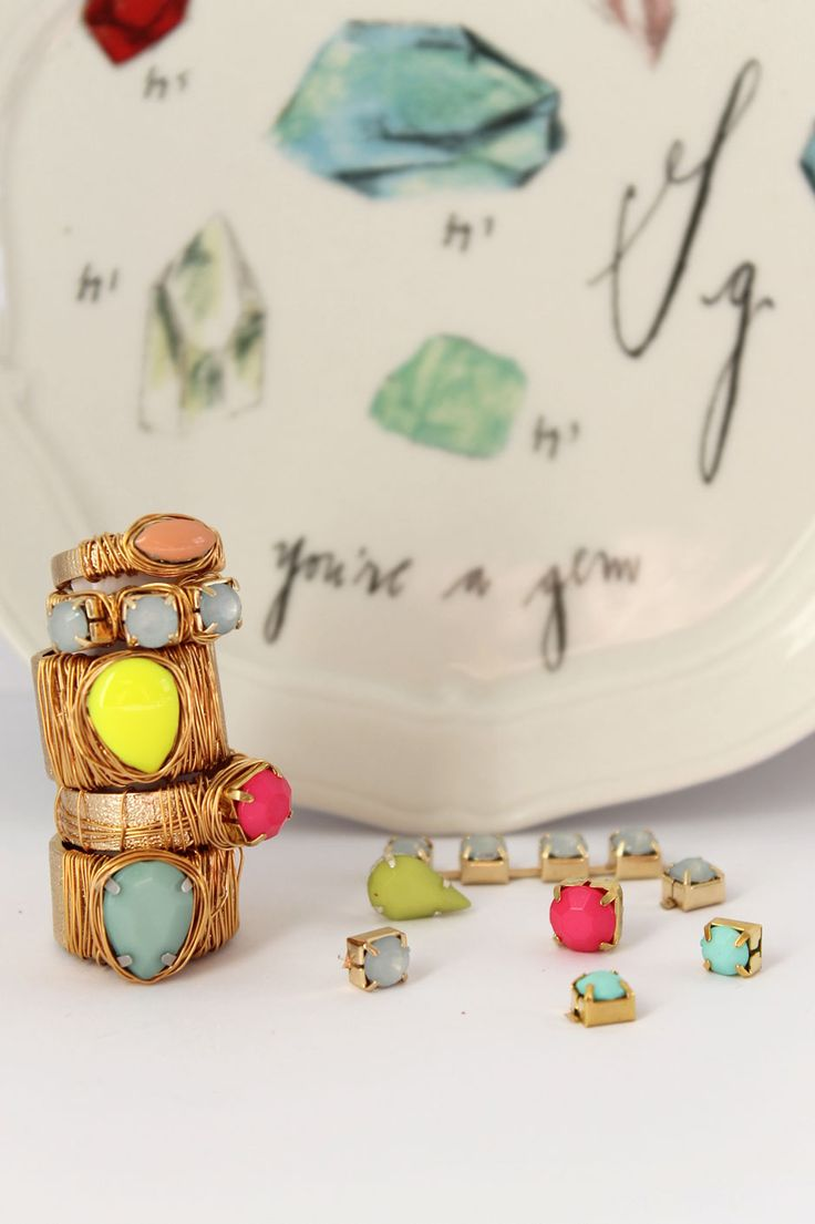 DIY: jewel and wire wrapped statement ring