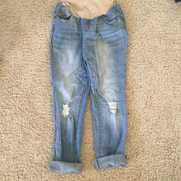 Motherhood Maternity Boyfriend Jeans Distressed Light wash distressed and so comfy. These were worn 2-3 times. I paid $50-60 for them. Motherhood Maternity Jeans Boyfriend