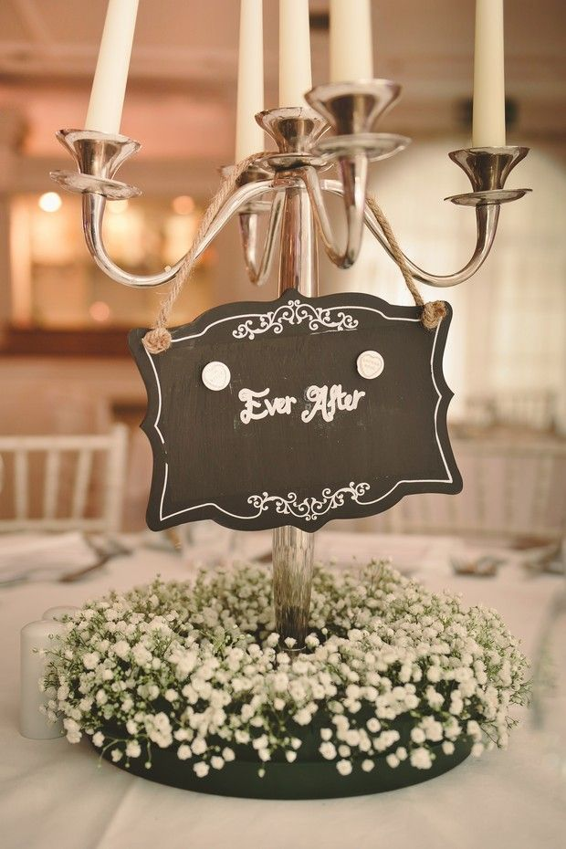 babys breath wedding centerpiece rustic sign at Conyngham Arms