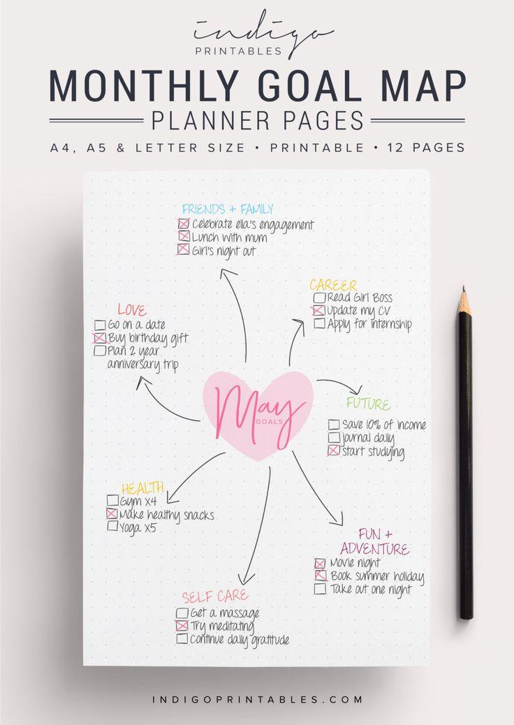 Monthly Goal Planner Goal Planner Goal Tracker by IndigoPrintables