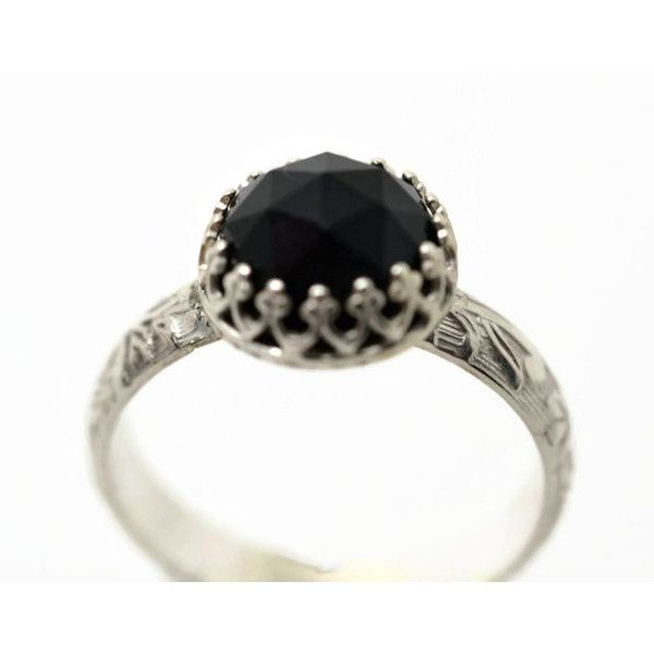 (120 CAD) ❤ Liked On Polyvore Featuring Jewelry, Rings, Band Rings, Onyx Engagement  Rings, Black Onyx Engagement Rings, Black Stone Ring And Engraved Rings