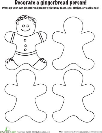 Worksheets: Gingerbread Coloring Page - Decorate your own. Copy onto ...