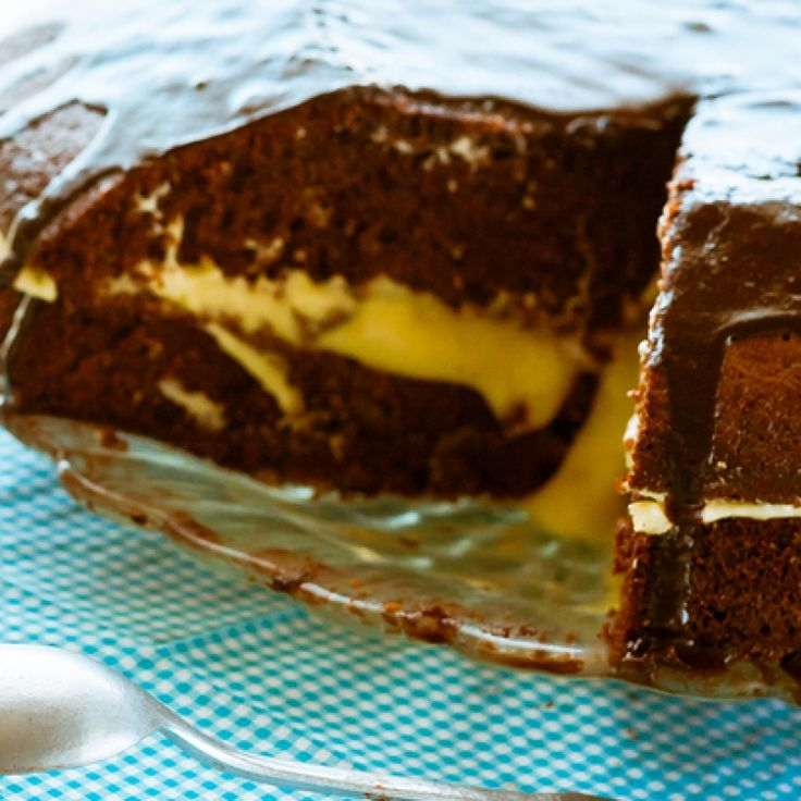 chocolate cake with custard filling