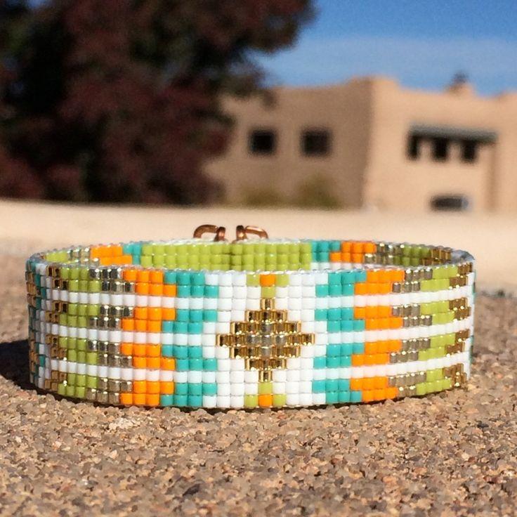 Los Lunas Bead Loom Cuff Bracelet Native American by PuebloAndCo