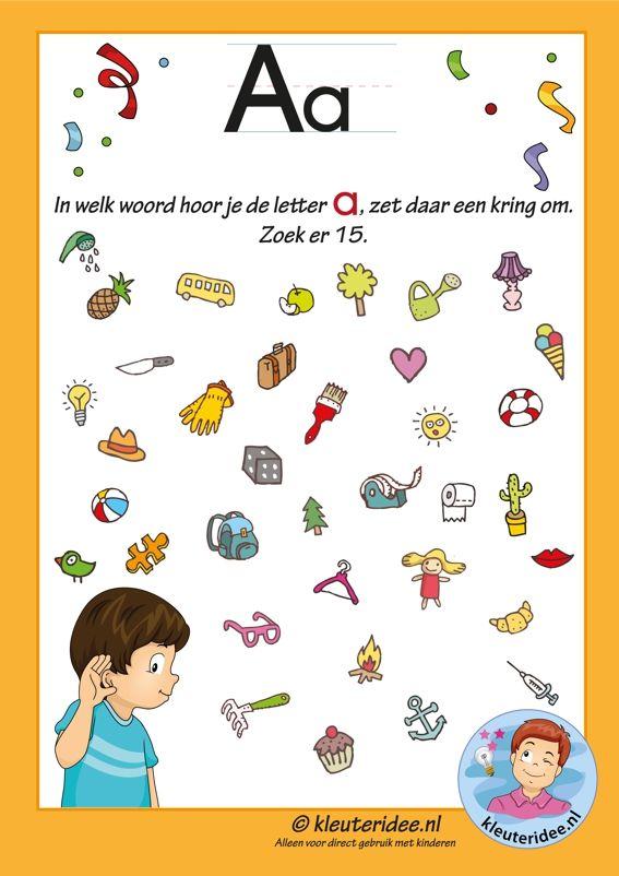 Pakket over de letter a blad 8, in welk woord hoor je een a, letters aanbieden aan kleuters, kleuteridee.nl, free printable.