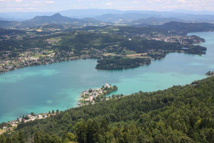 view from Pyramidenkogel to Maria Wörth in Carinthia, Austria