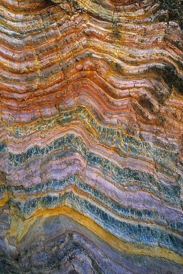 The Art of Rock Folding by Ern Mainka--Geological rock folding in sedimentary layers on beach coastline, Croajingalong National Park, Victoria, Australia. Approx 5×3 foot section shown.