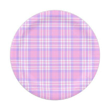 Pink Purple Lavender Plaid Gingham Check Girl Paper Plate - kitchen gifts diy ideas decor special unique individual customized