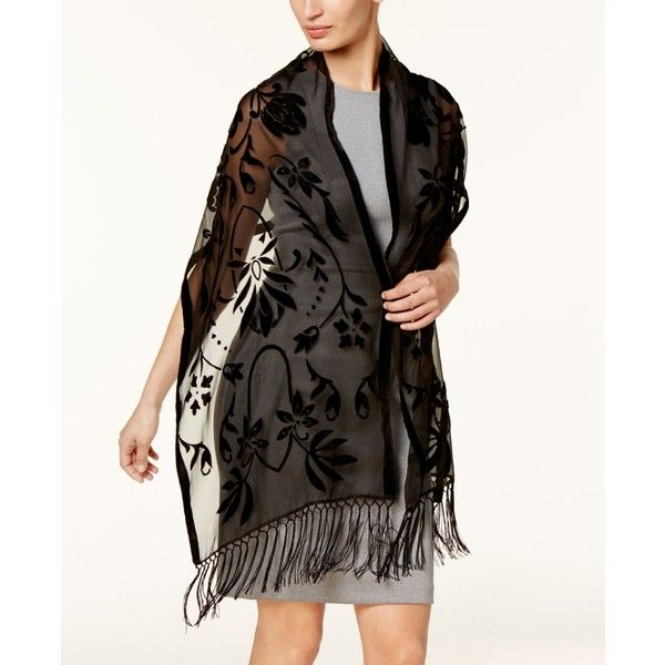 INC Floral Scroll Evening Wrap, Created for Macy's ($32) ❤ liked on Polyvore featuring accessories, scarves, black, wrap scarves, velvet wrap shawl, evening scarves, velvet scarves and velvet shawl