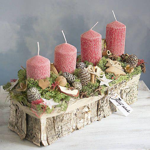 KvetinovyObchodik / Adventný svietnik s červenými sviečkami