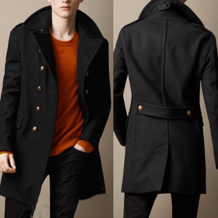 Пальто черное с пуговицами мужское Burberry