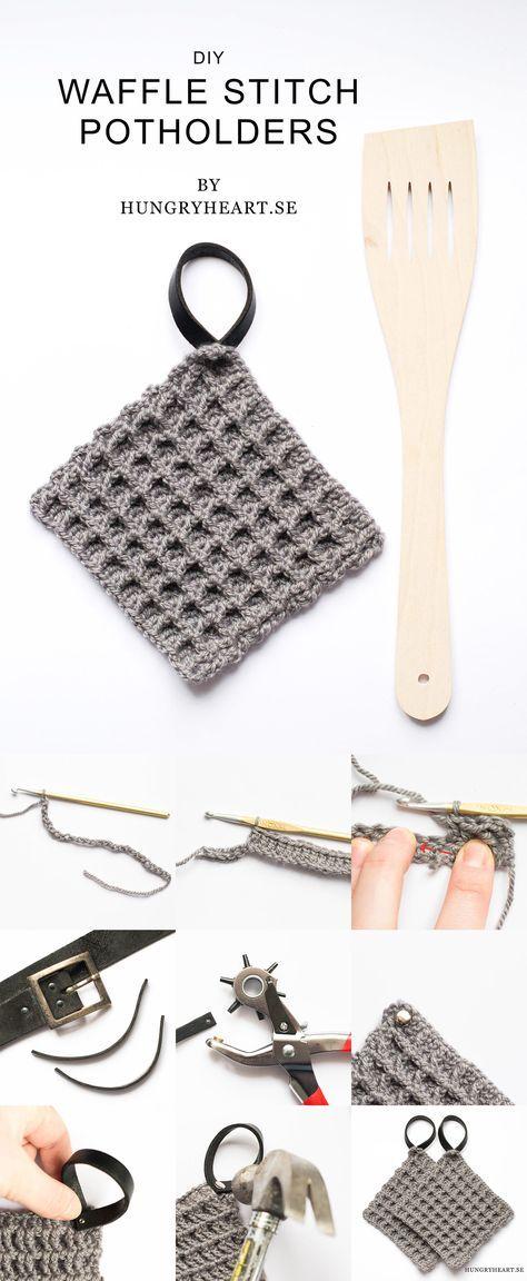DIY Virkade grytlappar med våffelmönster och läderhängare.