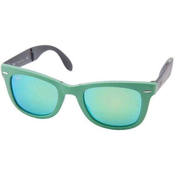 Ray-Ban Wayfarer Folding RUB) found on Polyvore featuring accessories, eyewear, sunglasses, glasses, jewelry, green, lens glasses, green lens sunglasses, ...