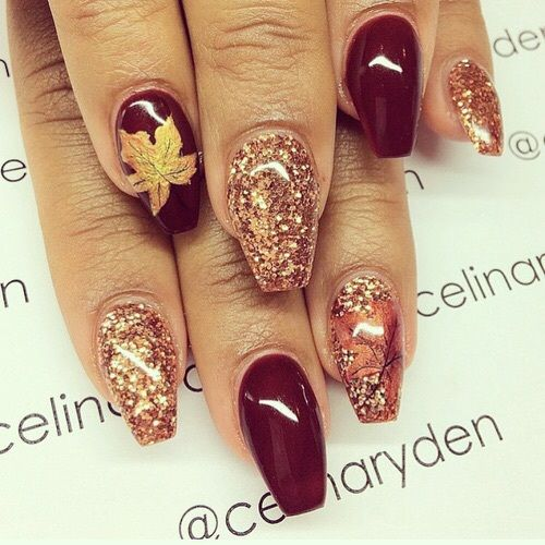 The Polish Playground Glittery Autumn Leaf Nail Art: 147 Best Fall Nail Designs Images On Pinterest