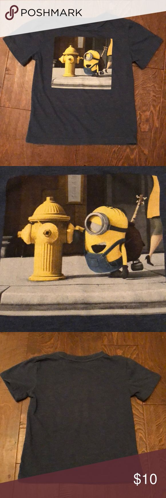 """Minions Illumination Entertainment Tee Navy blue shirt sleeve """"Minions"""" tee.  60% cotton, 40% polyester.  Excellent condition, 🚭 smoke free, 🐶 friendly home. Minions Illumination Entertainment Shirts & Tops Tees - Short Sleeve"""