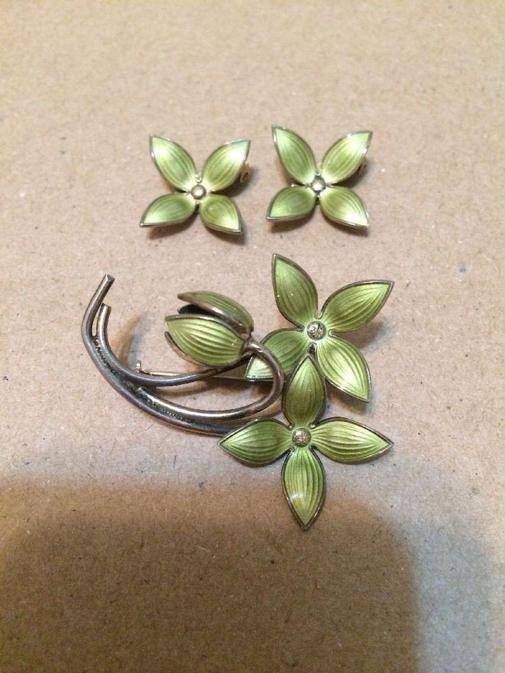 Vtg Sterling Ivar T. Holth Enamel Set Brooch Earring Flower Guilloche Norway Pin