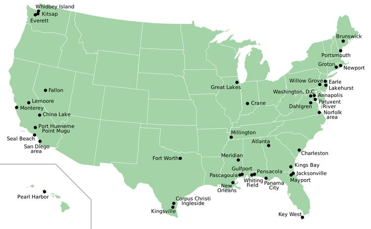 Map of Navy bases in the United States