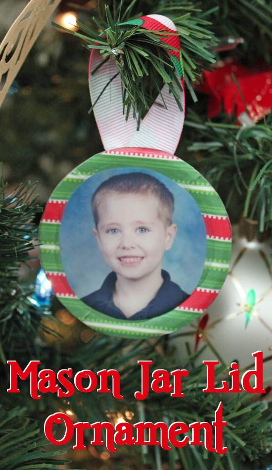 School Photo Mason Jar Lid Ornament @ 30 Minute Crafts: This ornament is so easy to make with just a few simple supplies! I added my son's school photo to the ornament, but you can use whatever photo or image is special to you. (TUTORIAL & PHOTOS)