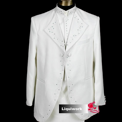 White Colonial Edwardian Style Formal Dress Wear Outfits Tuxedos for Men SKU-10108022