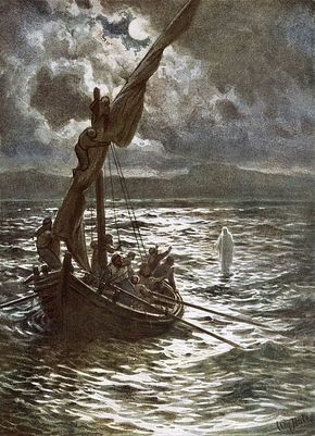 Bible; Jesus Christ; Walking On The Sea; Walking On Water; Sea Of Galilee; Boat; Sailing; Overtaking His Disciples Painting - Jesus Walking Upon The Sea by William Brassey Hole