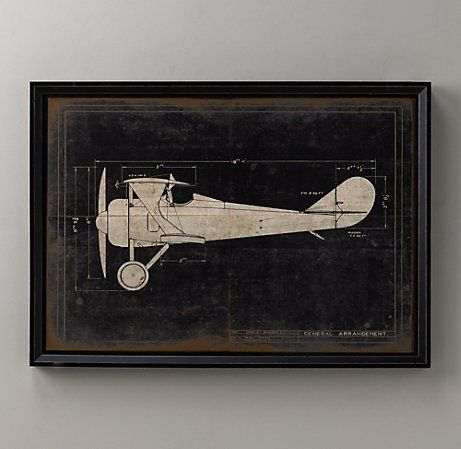 model g airplane blueprint art; perfect for vintage airplane nursery