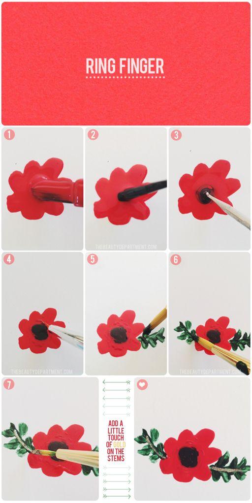 Red flower nail art tutorial.