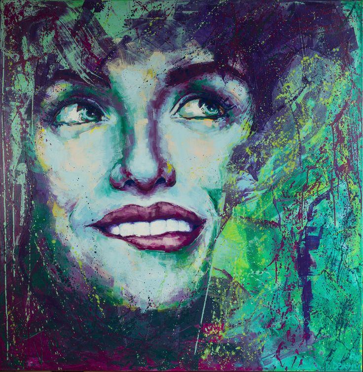 Turquoise 110/110/3 cm Acrylic on canvas