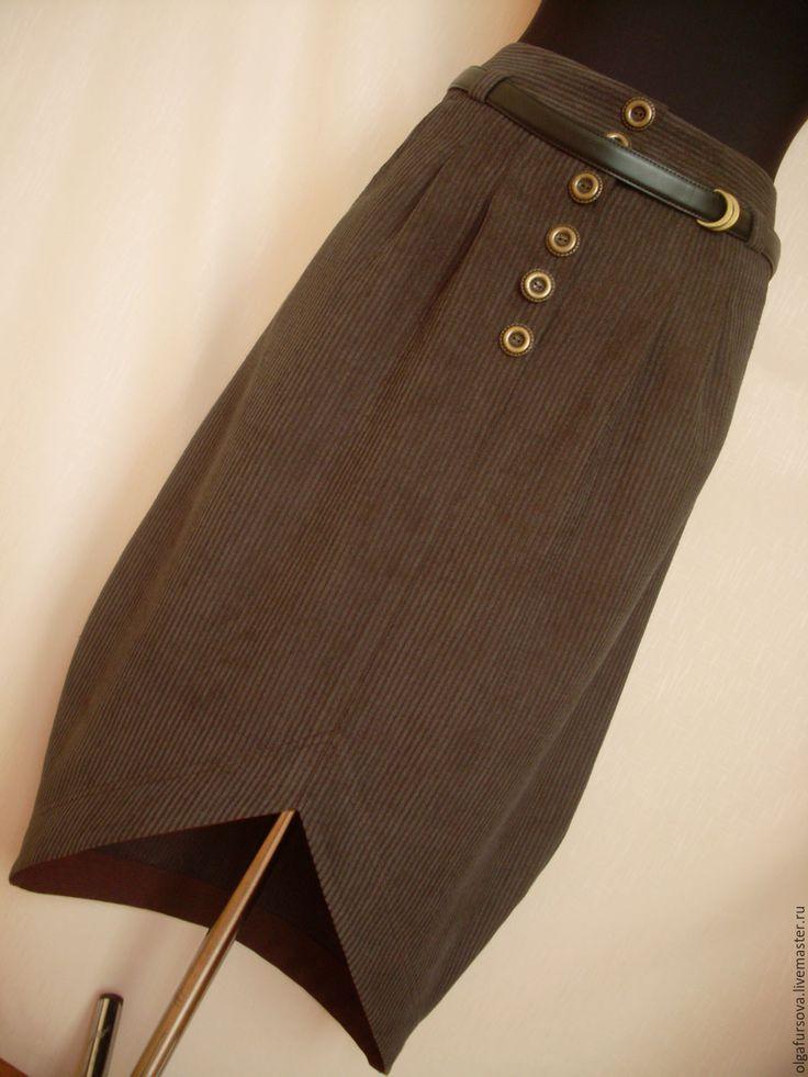 """Купить Юбка """"баллон"""" из вельвета - коричневый, однотонный, вельвет, вельветовая юбка, шерсть, шерстяная юбка"""