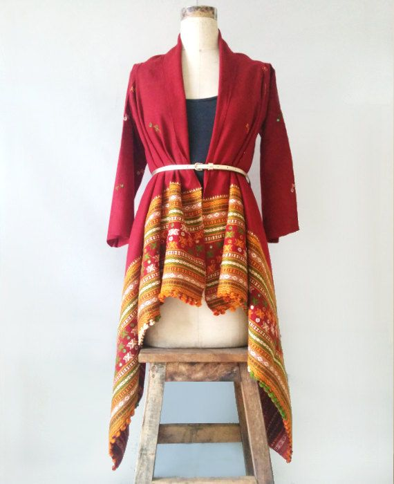 Red Maroon Kutch Handwoven and Embroidered Woolen by MograDesigns, $90.00
