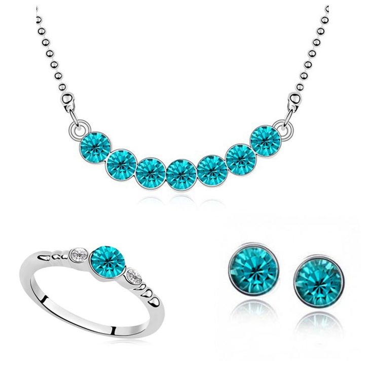 2015 Wholesale Fashion austria crystal Imitation White Gold plated Full Of Crystal Necklace Earring Ring Jewelry Sets For Women