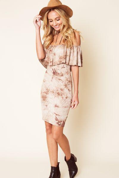 Brown tie dye off the shoulder bodycon dress #brown #tiedye #bodycon #dress #dresses #womensdresses #bohodress #boho #bohemian #bohochic #trending #cutedresses #fall #fallfashion #autumn #flavourdresses #flavourgirl