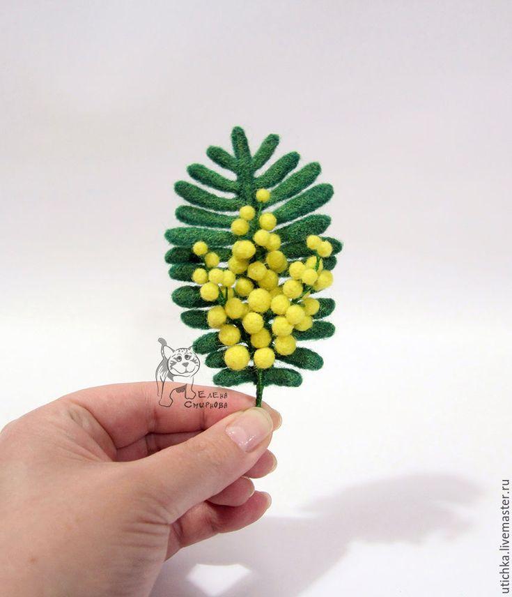Купить Мимоза - приятный аксессуар к любому празднику. - мимоза, весна, любовь, нежность, Валяние