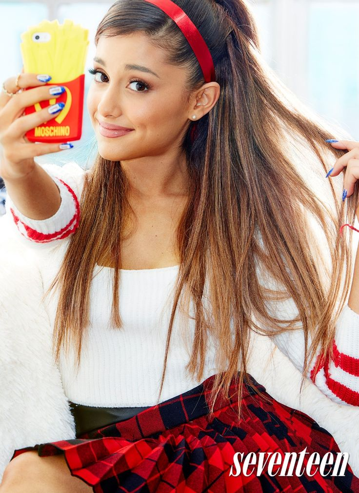 """Pop star Ariana Grande covers the September issue of teen publication Seventeen Magazine. The singer of the hit song """"Problem"""" poses in plaid looks for these images photographed by Kenneth Willardt. Ariana looks to be selfie obsessed in the photos, posing with designer iPhone cases including Moschino and DSquared2. Being in show business since she was young, ...."""