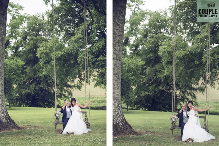 Taking a seat on the swing under the big tree. Weddings at Tankardstown House by Couple  Photography.