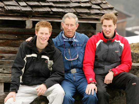 Prince Charles poses with his sons Prince William, right, and Prince Harry during the royal family's ski break at Klosters, Switzerland, on March 31, 2005.