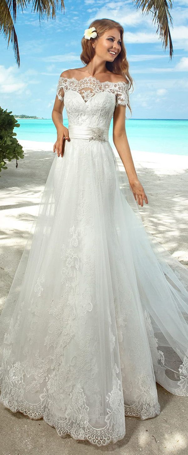 Elegant Lace Off-the-shoulder Neckline 2 in 1 Wedding Dresses