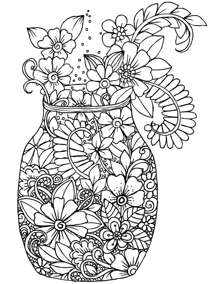 Floral Vase Coloring Book Cafe