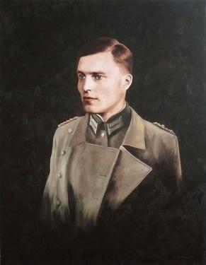 """Saatchi Online Artist Michael McNaughton; Painting, """"Portrait of Claus Schenk Graf von Stauffenberg (by Michael McNaughton, Portraitmaler, Hamburg)"""" #art"""