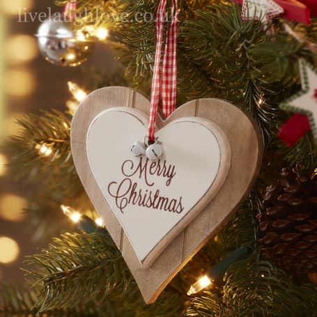 Double Heart Hanging - Merry Christmas http://www.livelaughlove.co.uk/Double-Heart-Hanging-Merry-Christmas.html